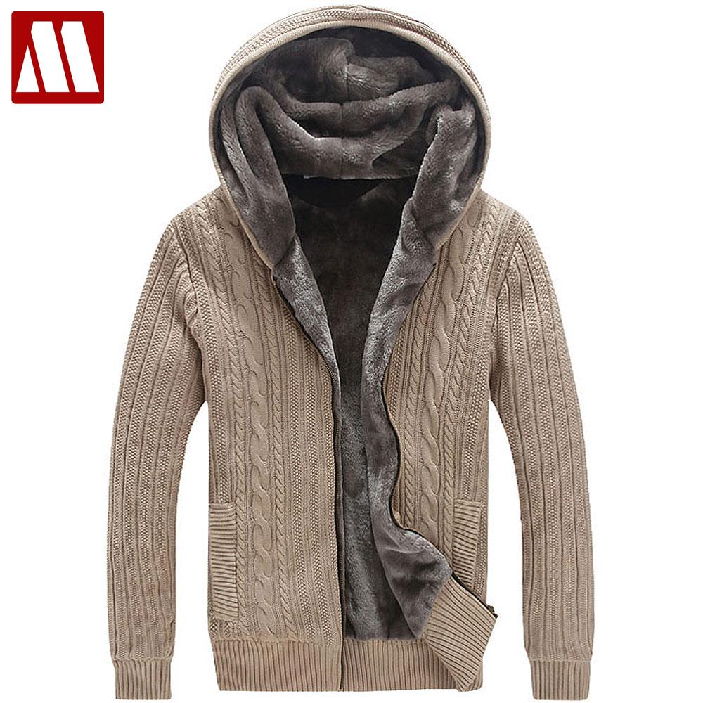 Winter Warm Thick Mens Sweaters / Casual Faux Fur Lining Knitted Sweater coat Men Designer Hooded Cardigans Big size to 5XL D447