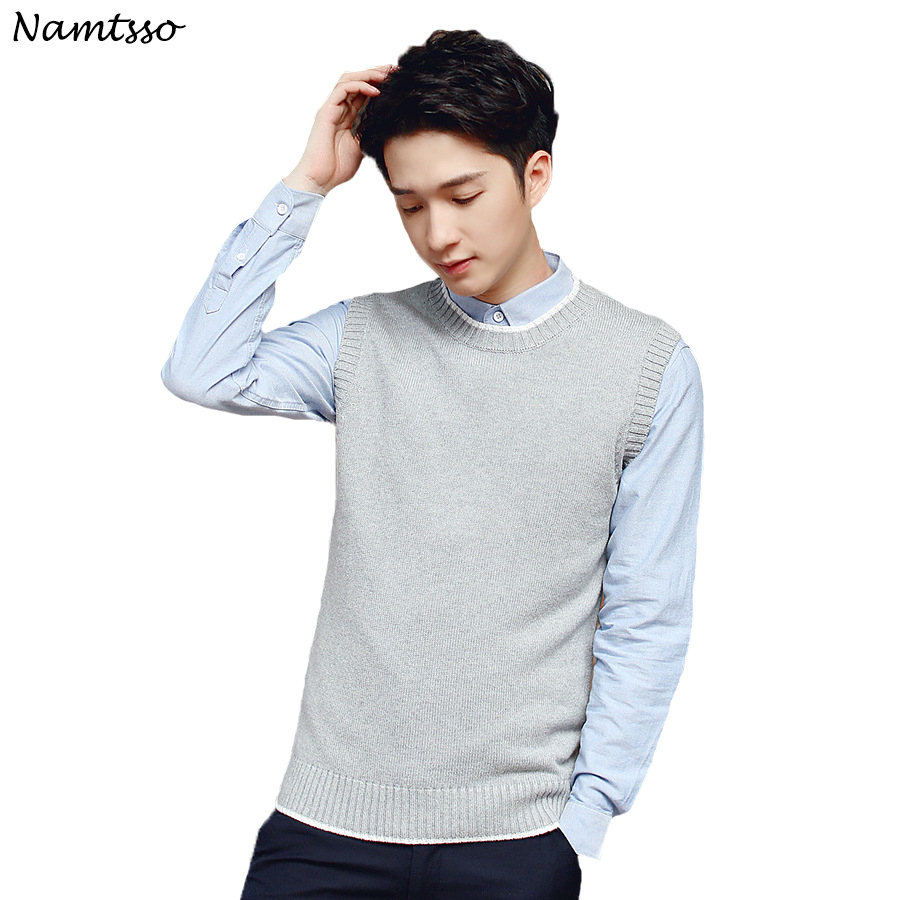 100% cotton Vest men's 2018 Autumn/winter knitting sleeveless sweater Brand base top Clothing male slim bottoming shirt 259
