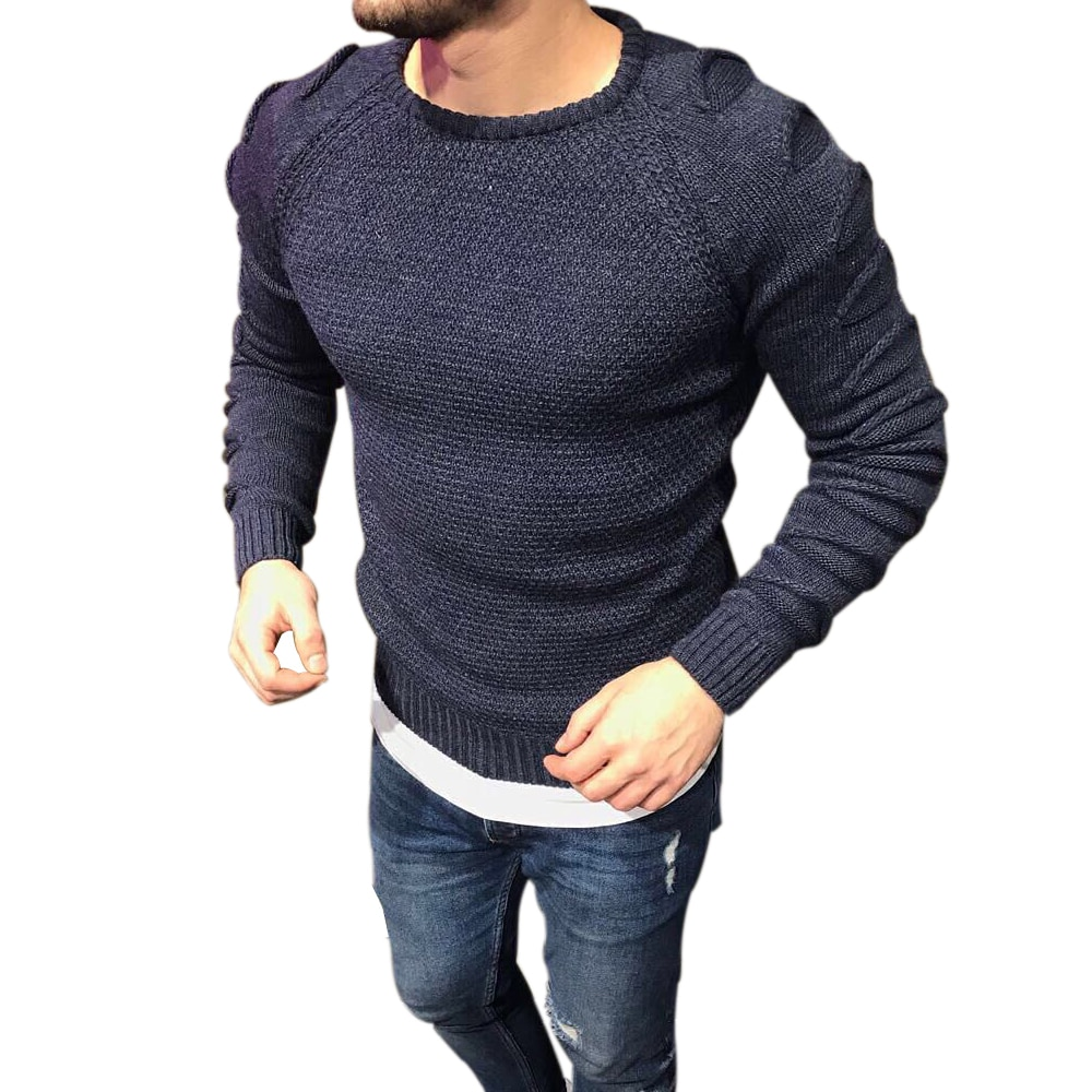 2018 Autumn Men's Pullover Casual Fitness Solid Sweater O-Neck Bodycon Long Sleeve Knitted Male Winter Jersey Hole on Shoulder
