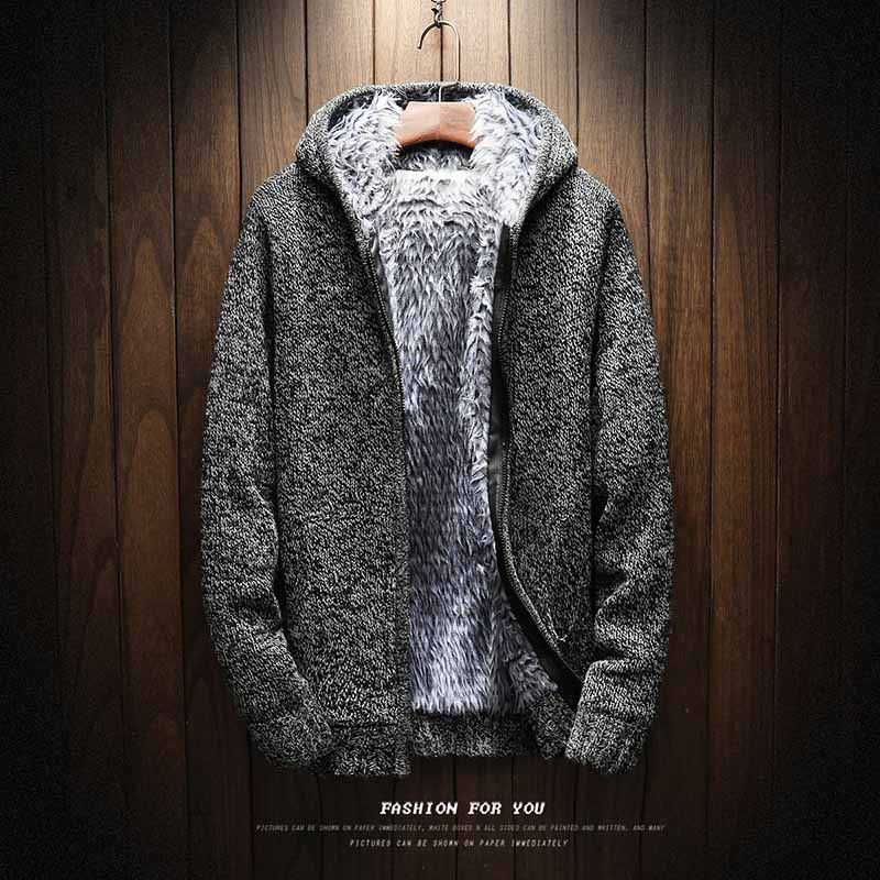 2018 Autumn Winter Fashion Thick Fleece Hooded Knitting Sweatercoat Keep Warm Sweater Cardigans Zipper Coat