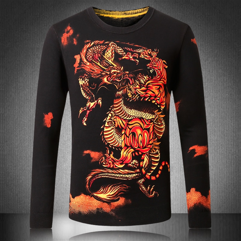 2018 Brand Social Cotton Thin Men's Pullover Sweaters Casual Dragon Print Knitted Sweater Men Masculino Jersey Clothes 5XL