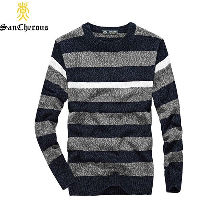 2018 Casual Men Winter Sweater O-Neck Striped Pullovers Men Cotton Sweater Size M-3XL 52 0.5