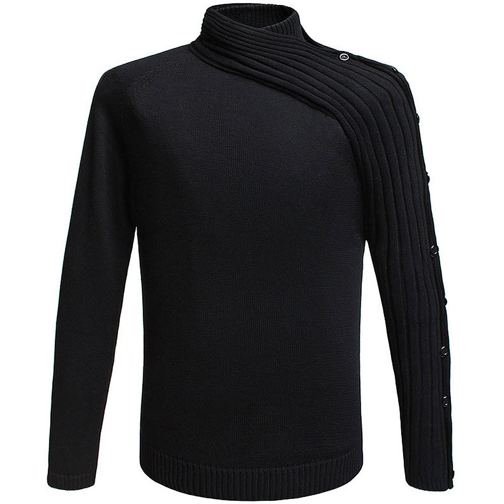 2018 Fashion European Style Men's Mandarin Collar Neck Knitted Black Pullover Sweater