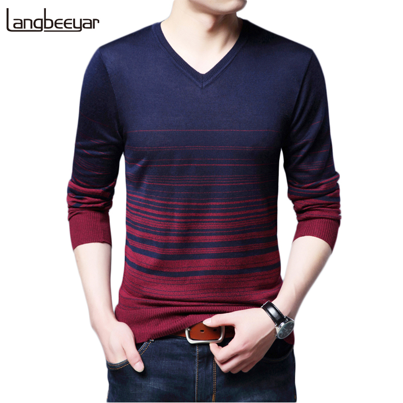 2018 New Autumn Winter Fashion Brand Clothing Men's Sweaters V Neck Slim Fit Men Pullover Gradient color Knitted Sweater Men