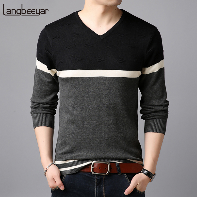 2018 New Fashion Brand Sweater Man Pullovers Warm Slim Fit Jumpers Knitwear Woolen Autumn Korean Style Casual Mens Clothes