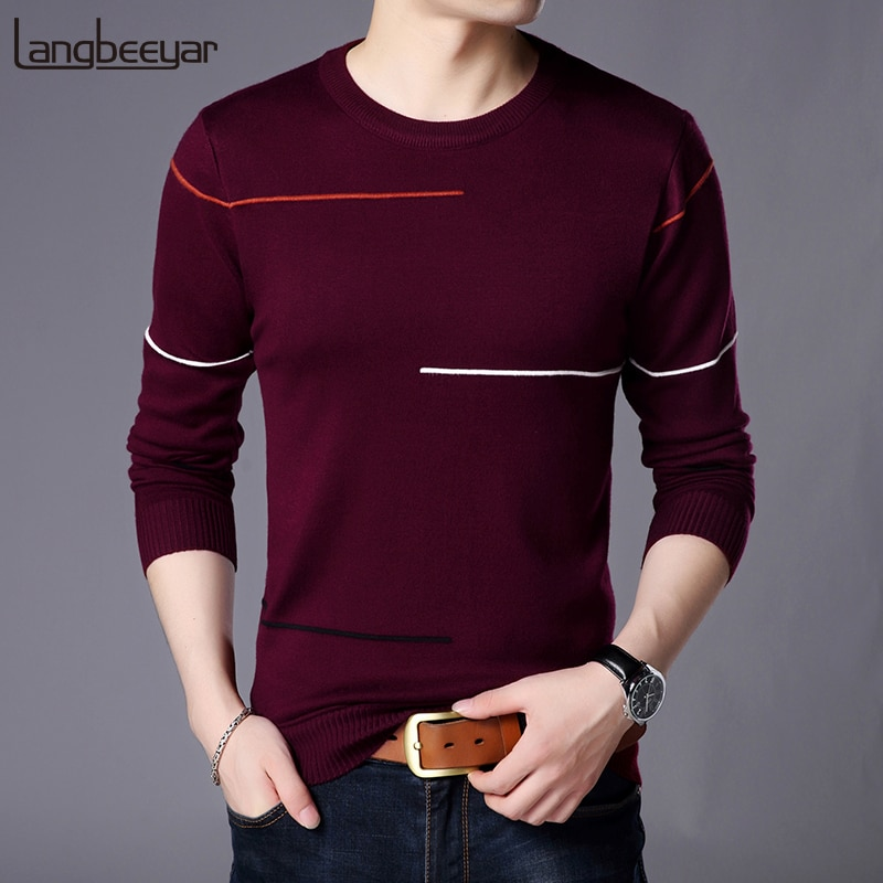 2018 New Fashion Brand Sweater Men's Pullover Striped Slim Fit Jumpers Knit Woolen Autumn Korean Style Casual Mens Clothes