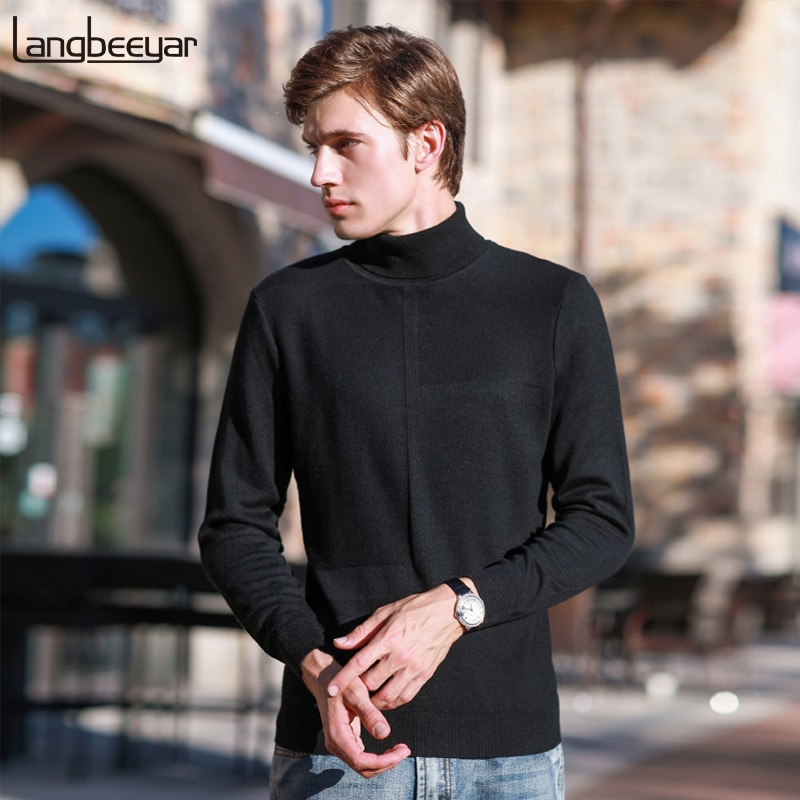 2018 New Fashion Brand Sweater Mens Pullover Warm Slim Fit Jumpers Knitting Turtleneck Winter Korean Style Casual Clothing Male