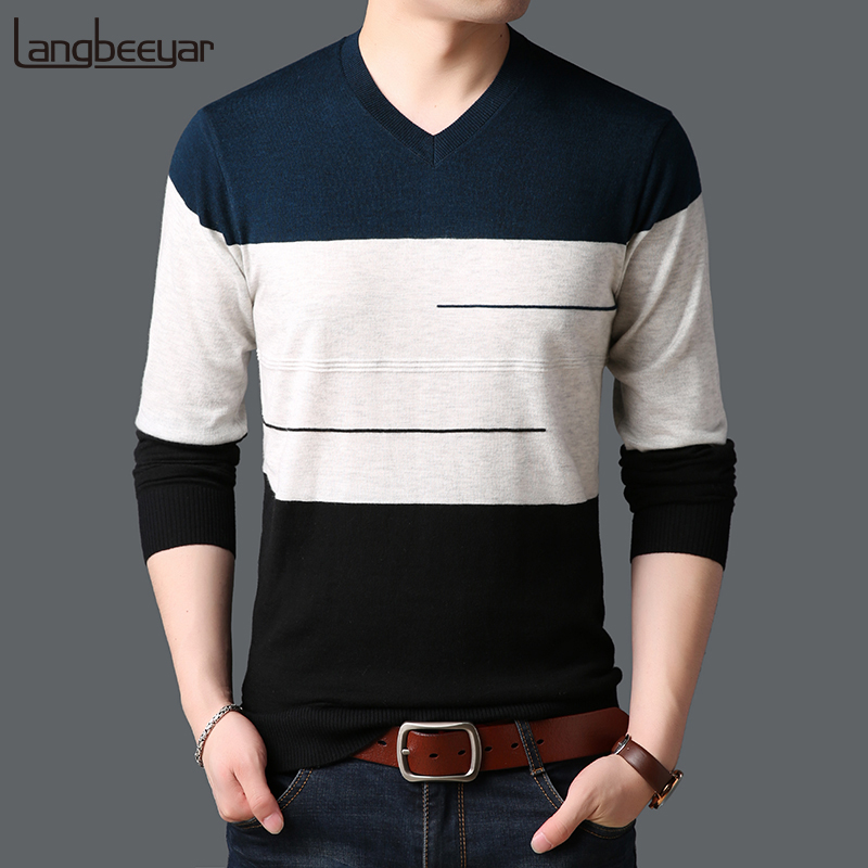 2018 New Fashion Brand Sweaters Mens Pullovers V Neck Slim Fit Jumpers Knitwear Winter Korean Style Striped Casual Clothing Men