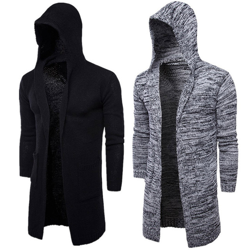 2018 New Fashion Mens Cardigan Sweaters Casual Long Coat Autumn Hooded Knitted Sweaters Sweatercoats Male Embroidery Cardigan