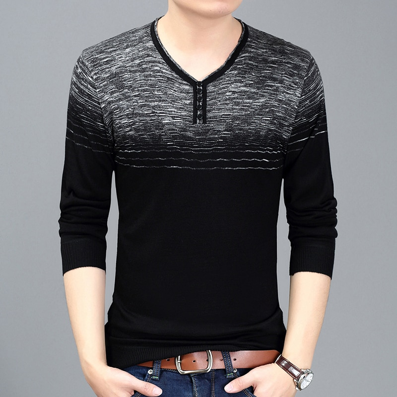 2018 New Spring & Autumn Fashion Brand Clothing Pullover Mens Sweaters Trend V-Neck Slim Fit Knitting Thin Sweaters For Men
