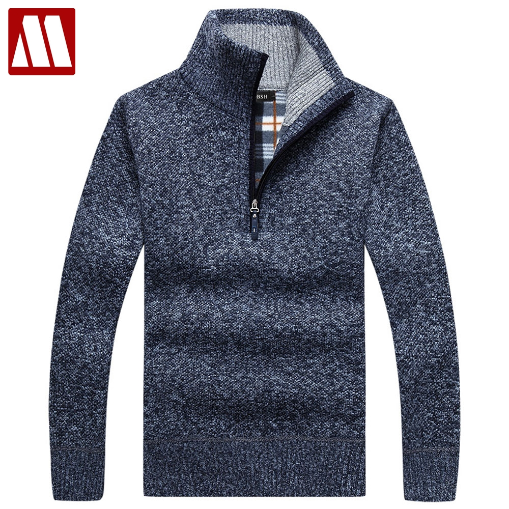 2018 New design autumn & winter male stand collar sweater solid thick full sleeve fleece liner pullovers men knitted sweaters