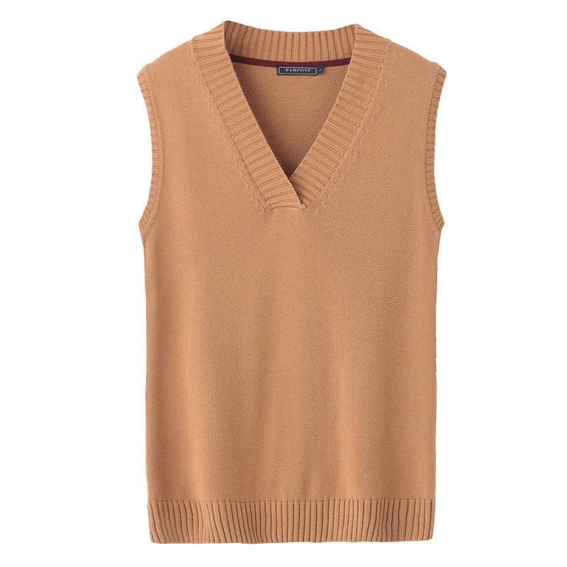 2018 Spring Autumn and Winter Pure Color V Neck Sleeveless Knitted Pullover Sweater Vest Men Shirt Basic Mens Knitwear Clothing