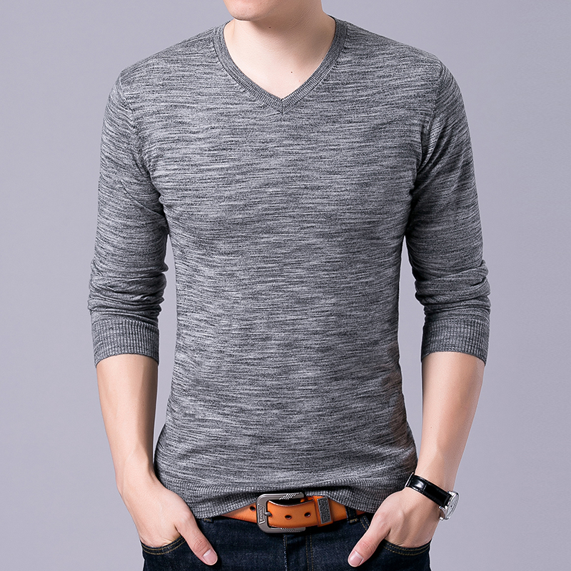 2018 Top Grade New Fashion Brand Sweater Mens Pullovers V Neck Slim Fit Jumpers Knitred Autumn Korean Style Casual Men Clothes