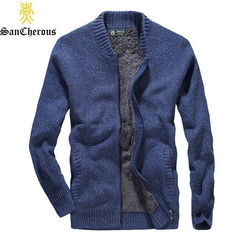 2018 Winter Fleece Thick Man Sweaters 4 Color V-Neck Men Pullover Outwear Knitting Man Warm Coat