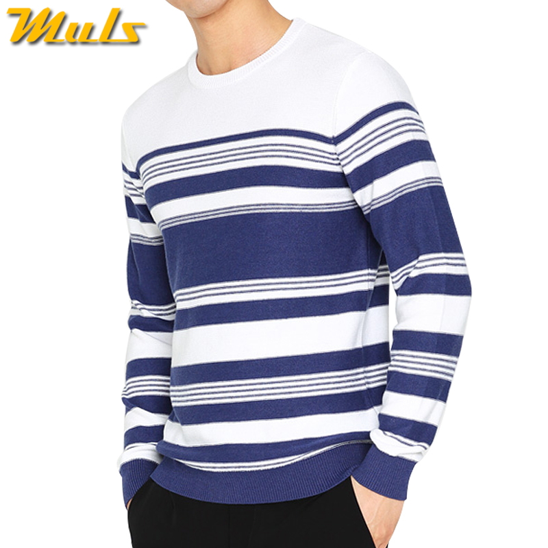 4XL Pullover Men Sweater Spring Autumn Striped Knited Mens Pullover Sweater Winter Male Jumper Muls Brand Blue White Casual Tops