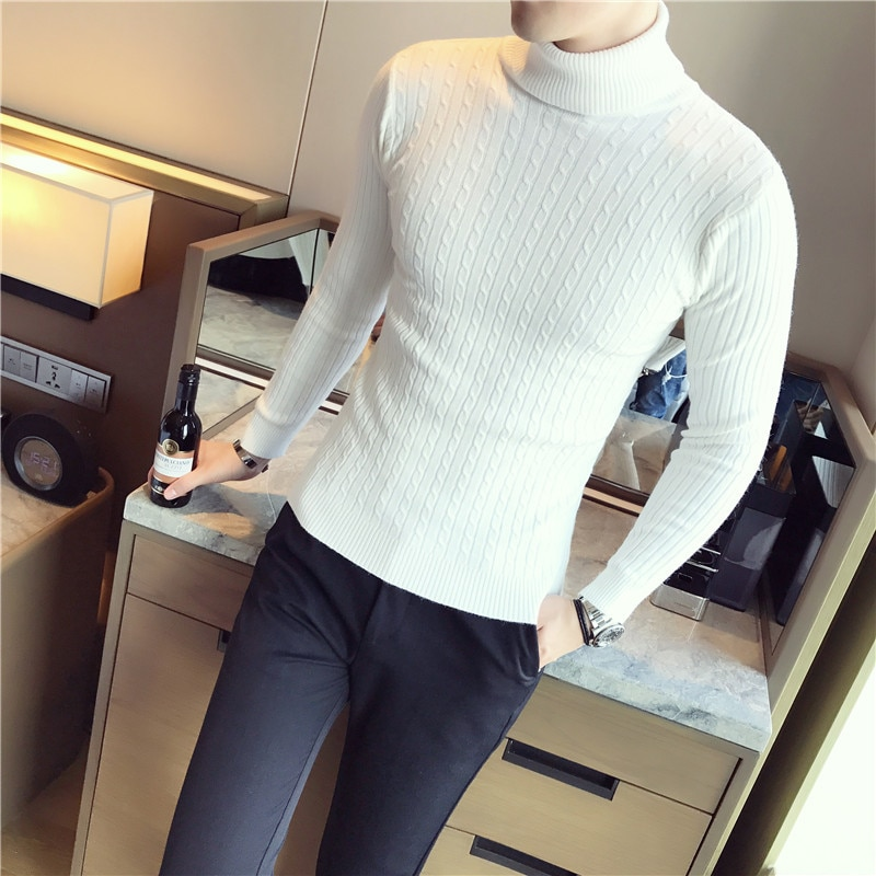 5 Colors Men Turtleneck Sweater Black White Grey Red Stripe Slim Fit Mens Pullover Sweaters Male Sweater Men Turtleneck