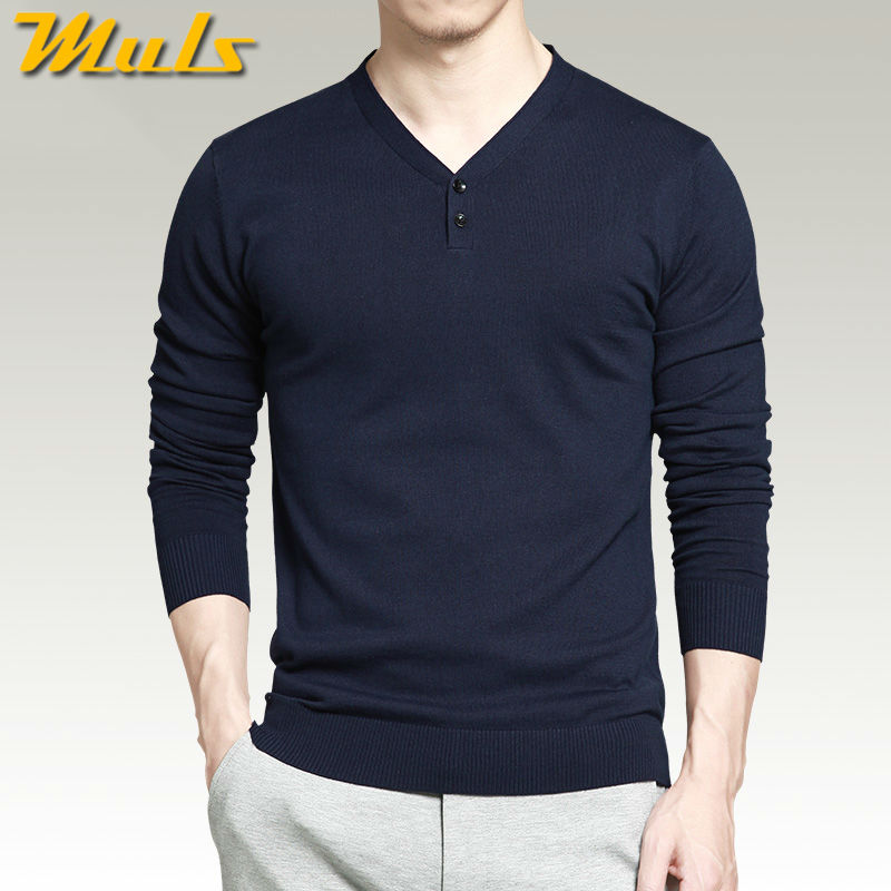 7 colors pullover men sweaters best style cotton knitted V neck long sleeve shirts men jumpers plus size 4XL Muls Brand MS16010