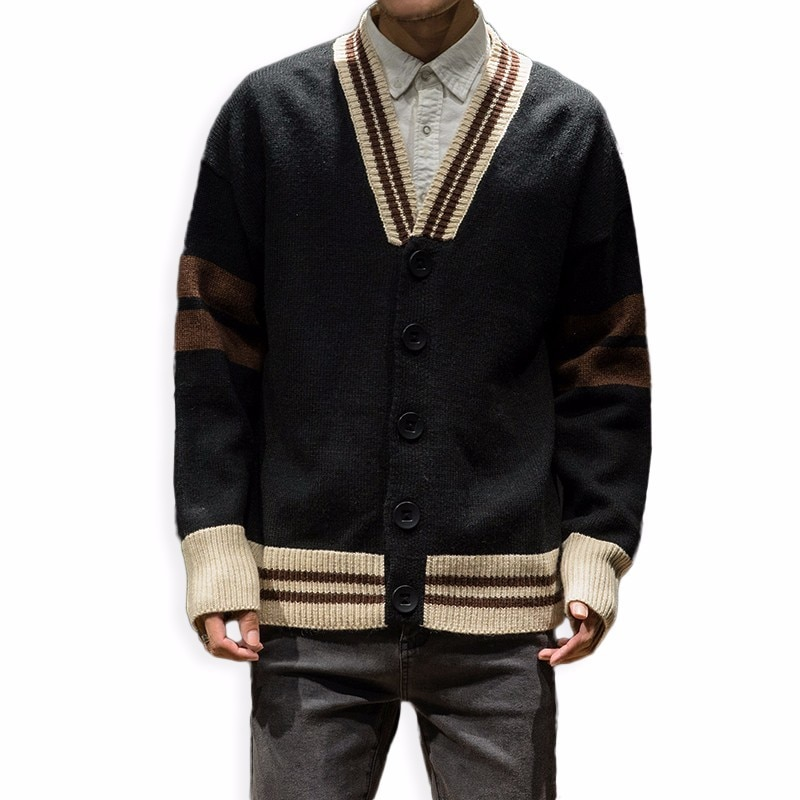 AIRGRACAIS Vintage Classic Men Cotton Sweater V-Neck Slim Fit Knitting Mens Striped Sweaters Cardigan Men Clothing 2018 New
