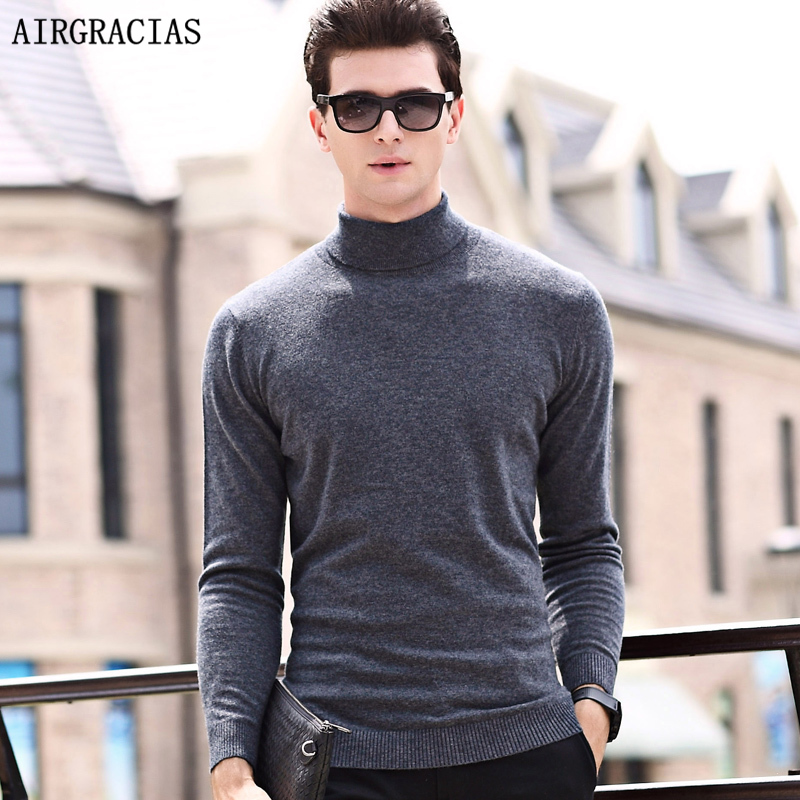 AIRGRACIAS Brand Autumn Winter Sweater Men Casual Wool Sweater Coat Warm Knitting Clothes Solid Color Sweater Coats Pullover Men