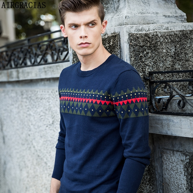AIRGRACIAS High Quality 100% Cotton Sweater Men Autumn Winter Knitted Cotton Sweaters Fashion Plaid O-Neck Pullover Male