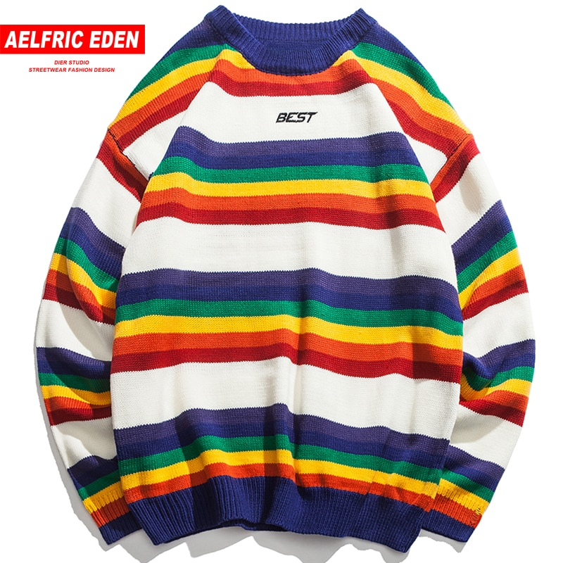 Aelfric Eden Letter Print Knitwear Sweaters Men Color Block Rainbow Striped Sweater Harajuku Retro Couple Casual Streetwear FC35