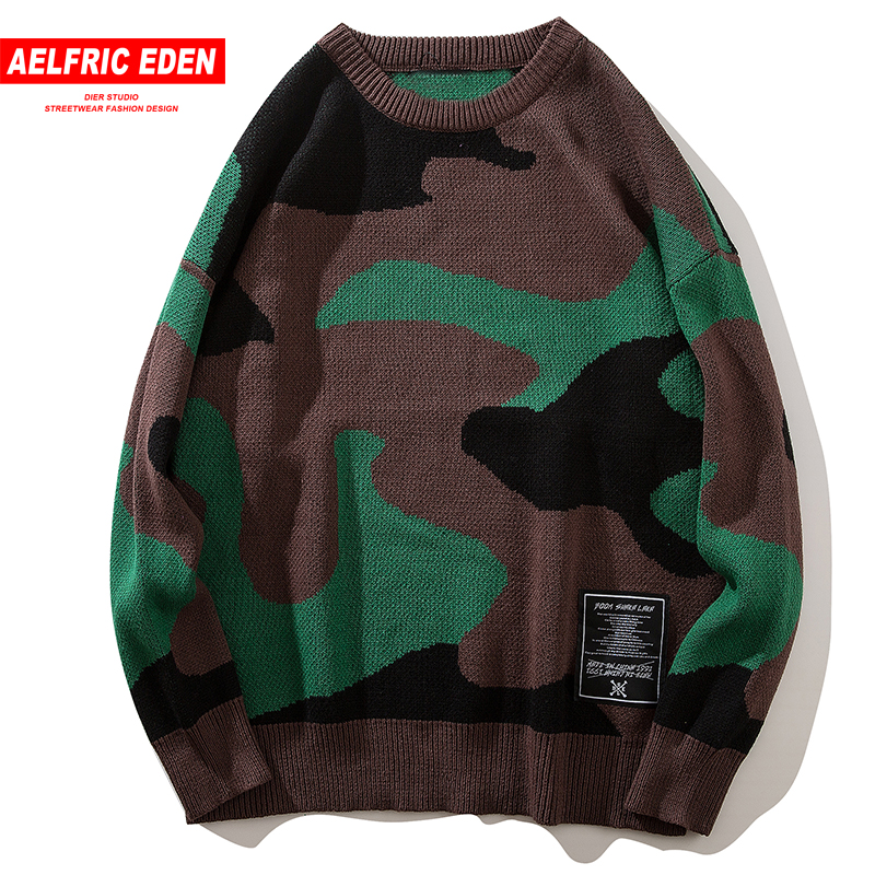 Aelfric Eden Tide Camouflage Sweaters Men Winter Military Knitted Pullover Sweater Fashion Warm Harajuku Casual Streetwear KA08