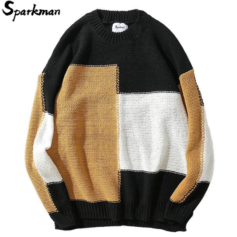 Autumn 2018 Harajuku Streetwear Sweater Pullover Hip Hop Men Knitted Sweater Retro Vintage Loose Sweater Color Block Patchwork