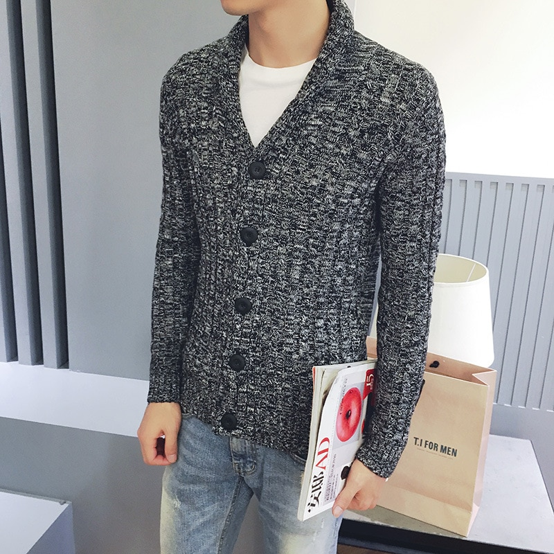 Autumn Leisure jacquard youth knitted sweater slim sweater thickening sweater male
