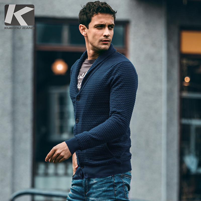 Autumn Men Sweater 100% Cotton Thick Pocket Black Blue Cardigan For Man Fashion Slim Clothes New Male Wear Knitting Coat 18230