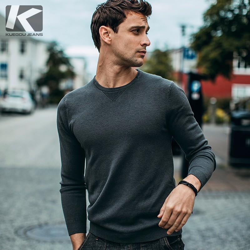 Autumn Men Sweater White Pink Gray Color Solid Pullovers For Man Fashion Slim Fit Clothing 2018 Male Wear Knitwear Tops 98001