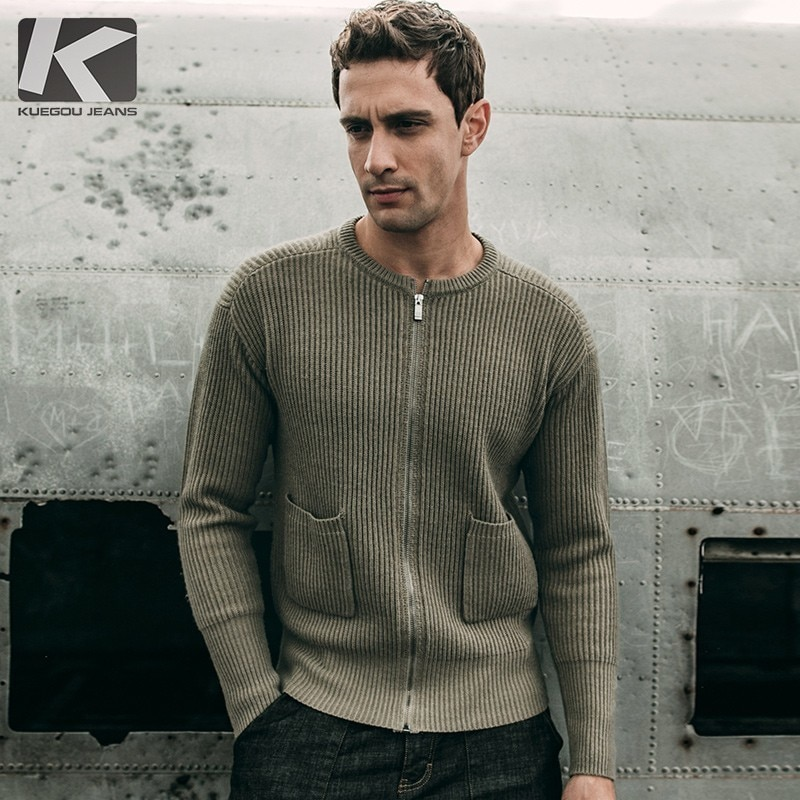 Autumn Men Sweater Wool Thick Solid Army Green Color Cardigan For Man Casual Slim Clothes 2018 New Male Wear Knitting Coat 18202