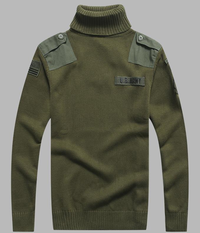 BONJEAN Men's Military Sweater Patch Design Tactical Army Knitted Highneck Sweaters Autumn Winter Casual Thick Pullover