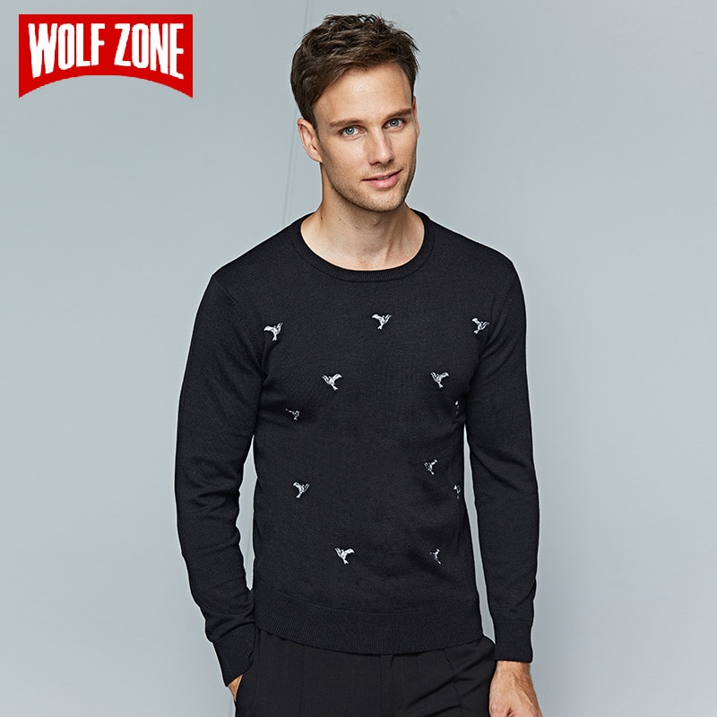 Black Wool O-neck Knitted Sweater for Men Winter Business Pullover Casual Brand Clothing Long Sleeve Pullovers Mens Sweaters Hot