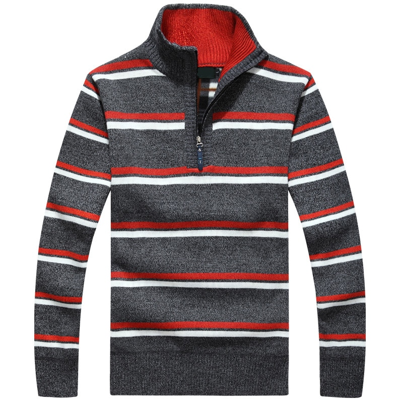 Brand Clothing Hot Winter thick Cashmere Sweater men Hot Quality Sweater Business Style Pullovers Mens Striped Half Zip Sweaters