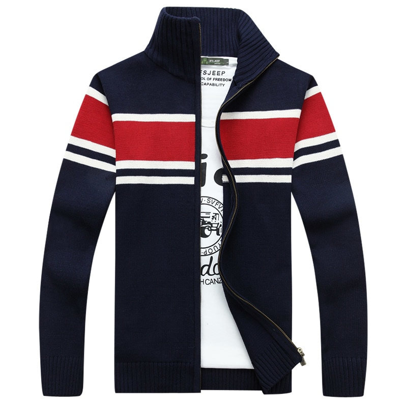 Brand New Autumn Men Sweater Fashion Brand Clothing Casual Striped Slim Fit Zipper Knitting Mens Sweaters Coat Jacket
