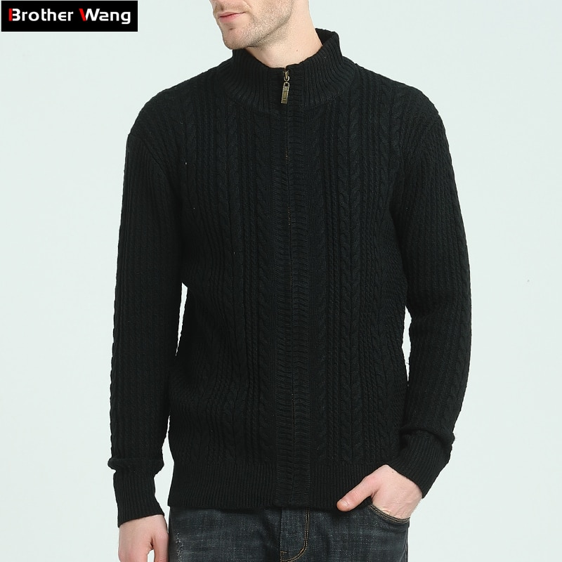Brother Wang Brand 2018 Men Casual Cardigan Sweater Fashion Solid Color Male Zipper Sweater Coat Jacket