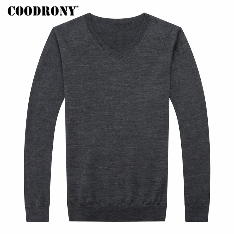 COODRONY Cashmere Sweater Men Clothes 2018 Autumn Winter Thick Warm 100% Merino Wool Sweaters Plus Size V-Neck Pullover Men 8307