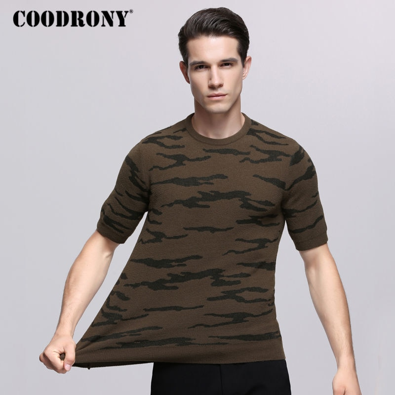 COODRONY Casual O-Neck Sweater Men 2018 Autumn Mens Army Pattern Short Sleeve Shirt Pull Homme Knitting Cotton Pullover Men 7248