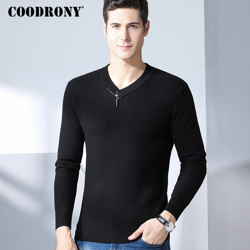 COODRONY Men Sweater 2018 Winter Christmas Thick Warm Merino Wool Sweaters Fashion Zipper V-Neck Pull Cashmere Pullover Men 8336