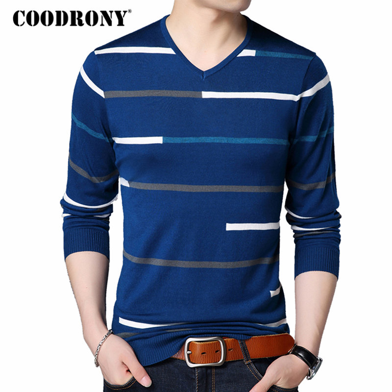 COODRONY Men Wool Sweater Casual Striped V-Neck Pullover Men Clothes 2018 Autumn Winter New Arrival Mens Sweaters Pull Homme 198