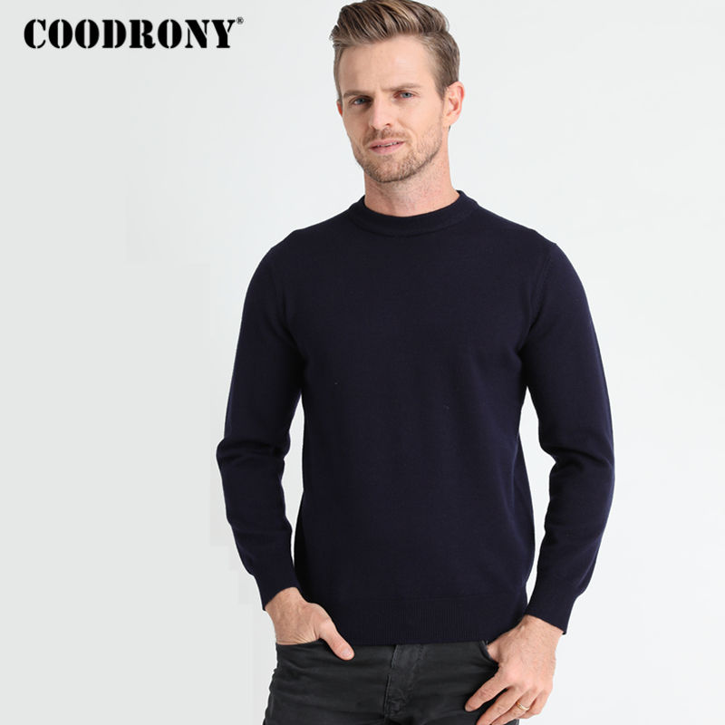 COODRONY Sweater Men Clothes Autumn Winter Thick Warm Cashmere Wool Sweaters Classic Solid Color Casual O-neck Pullover Men 8132