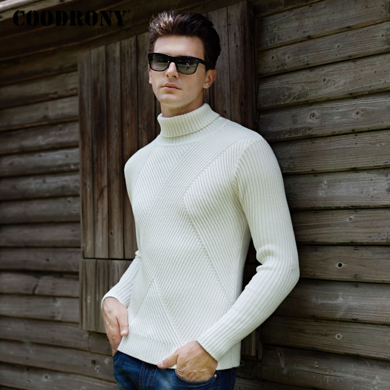 COODRONY Thick Warm Turtleneck Pullover Men Winter Christmas Sweater Men Knitted Wool Pull Homme Slim Fit Cashmere Sweaters 8203