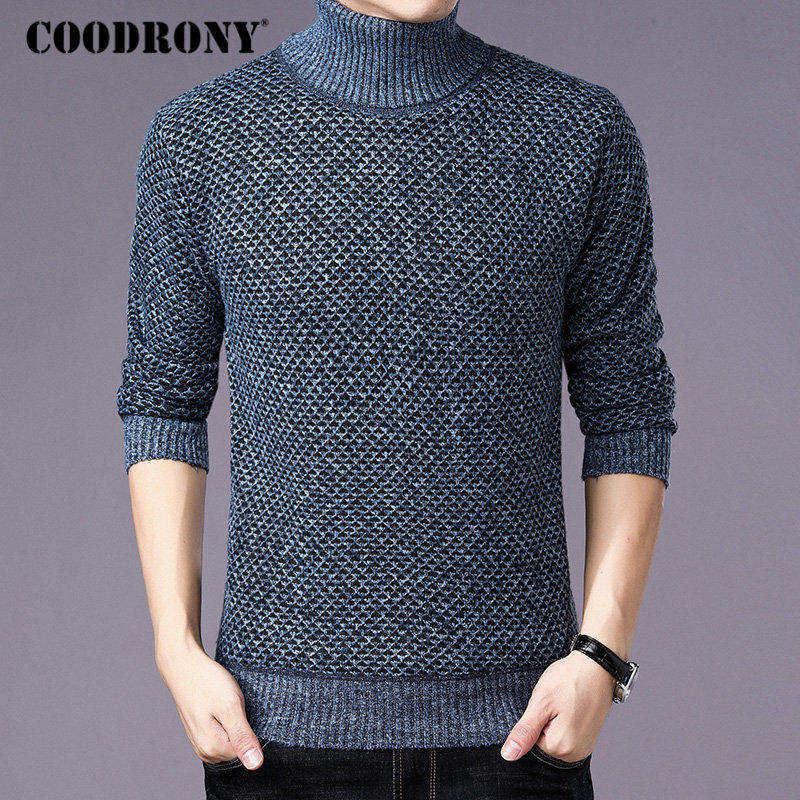 COODRONY Turtleneck Sweater Men Clothes 2018 Winter Thick Warm Cashmere Wool Pullover With Cotton Liner Slim Fit Pull Homme H005
