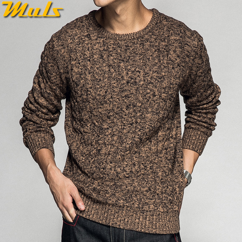 Colored Wool Thick Twist Sweater Pullovers Men 2018 Autumn Winter Mens Sweaters Shirt Vintage Warm Pullover Male Brown Red Black