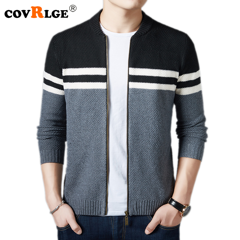 Covrlge 2018 Autumn Winter New Fashion Men Sweaters Men's Casual Patchwork Knitted Jacket Plus Size Zipper Cardigan M-3XL MZM038