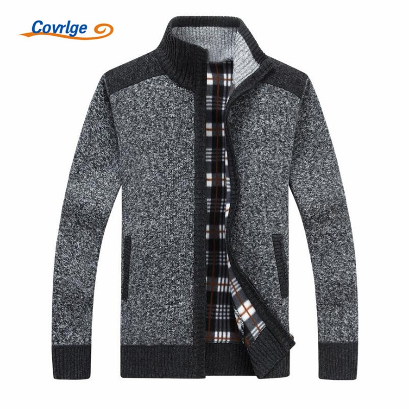 Covrlge 2018 Autumn and Winter Fashion Men's Business Solid Color Casual Collar Thickening Zipper Knitted Cardigan Jacket MZM033