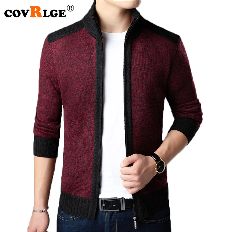 Covrlge 2018 Men's Sweaters Autumn Winter Warm Cashmere Wool Zipper Sweater Men Stand-collar Cardigan Casual Knitwear MZM036