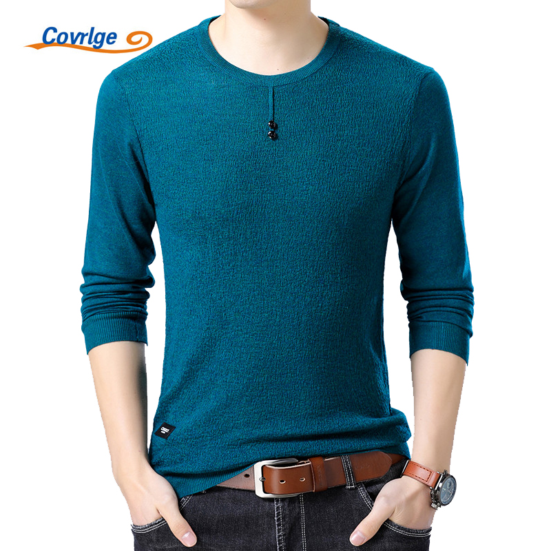 Covrlge 2018 Spring New Men Sweater Fashion O-neck Slim Fit Knitting High Quality Solid Pullovers Brand Casual Tee Shirt MZL036