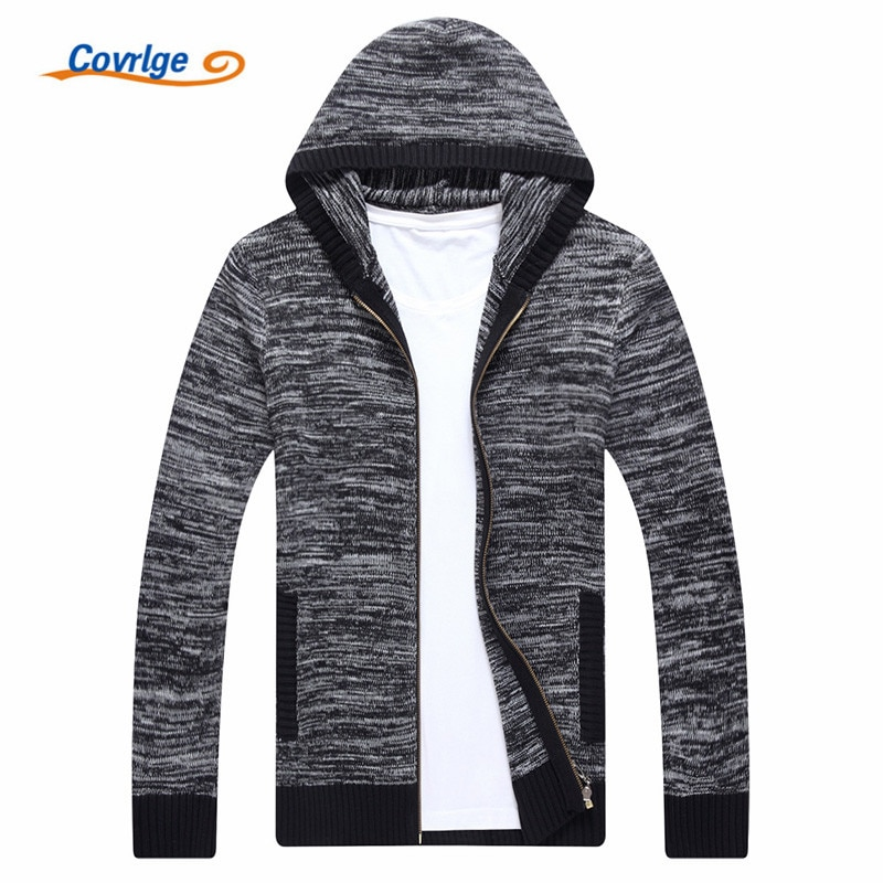 Covrlge Winter Men Jacket Thick Solid Male Cardigan Jacket Men's Winter Padded Knitted Sweater Cardigan Coat Outdoors MZM042
