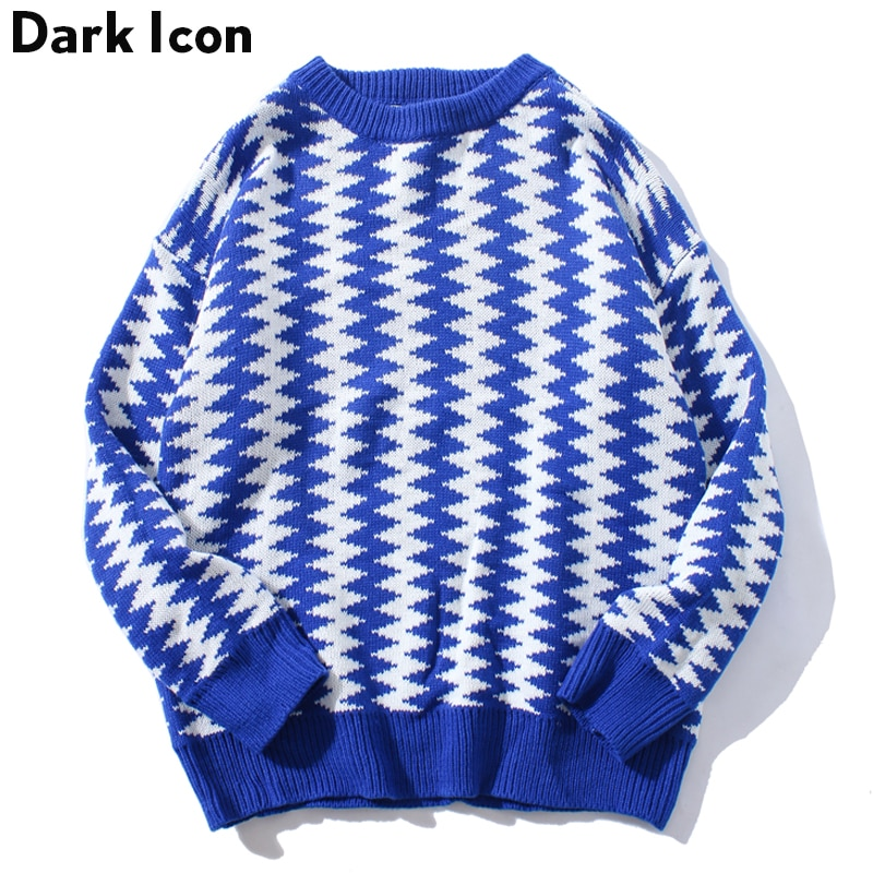 DARK ICON Geometric Rhombus Pullover Men's Sweater 2018 Winter Preppy Style Sweaters for Men Casual Sweater Man 3 Colors